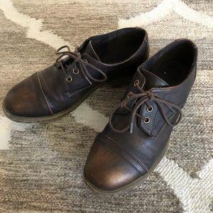 Burnished Brown Bronze Loafer Brogues Metallic